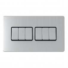 2 Way 6 Gang Switches, wall fitting SLM1062BCBM