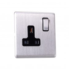 13A Switched Sockets, 1 Gang DP, wall fitting SLM2012