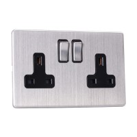 13A Switched Sockets, 2 Gang, DP, wall fitting SLM2022
