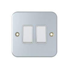 2 Way 2 Gang Metal Clad Light Switches, SM1022