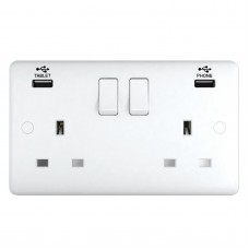 13A Switched Sockets, 2 Gang, with 3.1A USB outlets, wall fitting ST2320