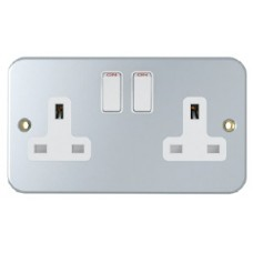 13A, 2 Gang Switched Socket, Metal Clad, SM2021