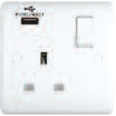 13A Switched Sockets, 1 Gang, with USB outlet, wall fitting ST2310